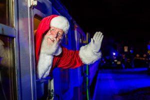 Polar Express Train Ride in Kent - Santa waves from the steam train